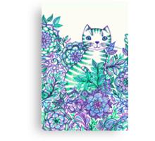 Garden Cat Doodle Canvas Print