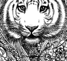 Tiger Tangle in Black and White Sticker