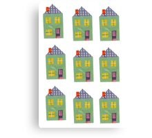 Cute And Colourful Little Houses Collage Canvas Print