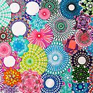 Abstract Spiral Art Blues, Pinks and Greens by RachelEDesigns
