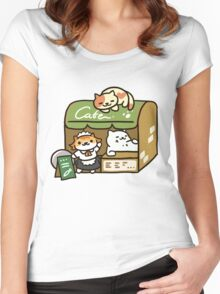 Tubbs at the Cafe - Neko Atsume Women's Fitted Scoop T-Shirt