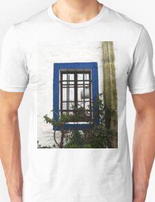 blue window in bodrum street Unisex T-Shirt