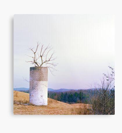 Tree in a Silo in January Metal Print
