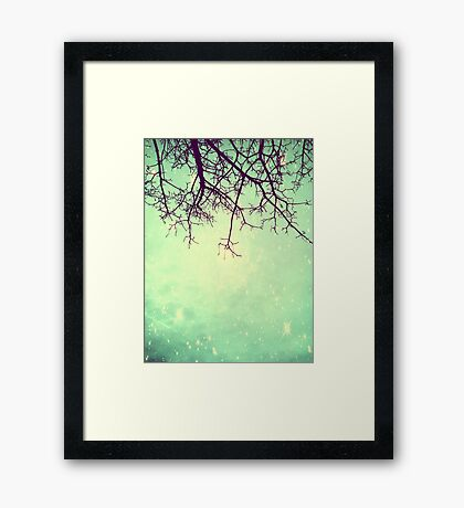 Psychedelic Green Galaxy Tree Framed Print