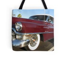 Red Cadillac at palms Tote Bag