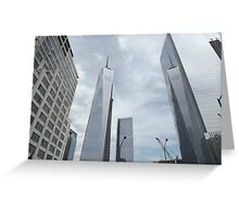 One World Trade Center Reflects in 4 World Trade Center, Lower Manhattan, New York City  Greeting Card