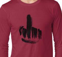 Brush Stroke Middle Finger Long Sleeve T-Shirt