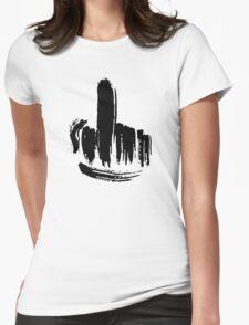 Brush Stroke Middle Finger Womens Fitted T-Shirt