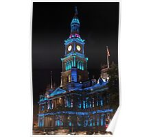 Town Hall in Xmas Blue Poster