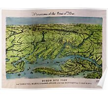 Civil War Maps 1235 Panorama of the seat of war bird's eye view of Virginia Maryland Delaware and the District of Columbia Poster