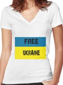 Free Ukraine Women's Fitted V-Neck T-Shirt