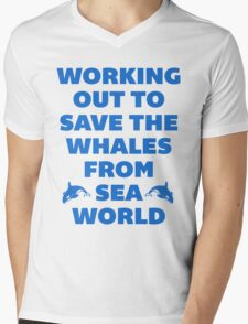 Working Out to Save the Whales Mens V-Neck T-Shirt