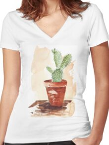 Bunny Ears Cactus (Opuntia microdasys) Women's Fitted V-Neck T-Shirt