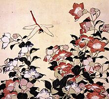 'Chinese Bell Flower and Dragonfly' by Katsushika Hokusai (Reproduction) by Roz Barron Abellera