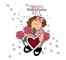 Happy Valentines Girl Photographic Print