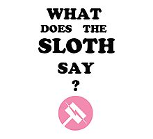 Nora what does the sloth say ? Photographic Print