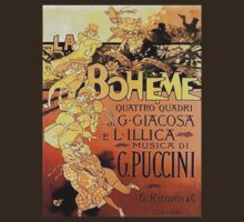 Puccini's LA BOHEME Art Deco Promo Art T-Shirt by RighteousTees