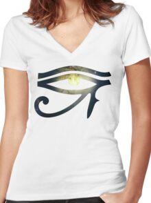 Illuminati Eye: Whirlpool Galaxy V2 | New Illuminati Women's Fitted V-Neck T-Shirt