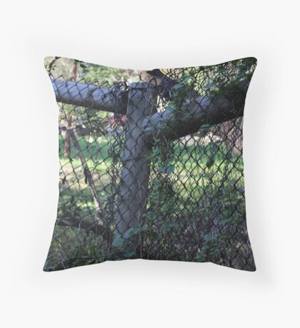 Wood And Wire Fence. Throw Pillow