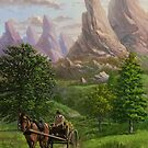 Landscape with man driving horse and cart by martyee