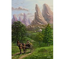 Landscape with man driving horse and cart Photographic Print