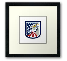 American Patriot Holding Up Torch Flag Shield Framed Print