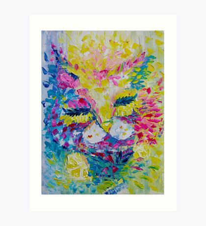 Pink Lemon Cat Painting Original Fine Art by Ekaterina Chernova Art Print