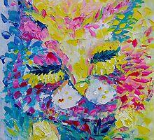 Pink Lemon Cat Painting Original Fine Art by Ekaterina Chernova by Ekaterina Chernova