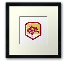 Rooster Cockerel Crowing Side Woodcut Shield Framed Print