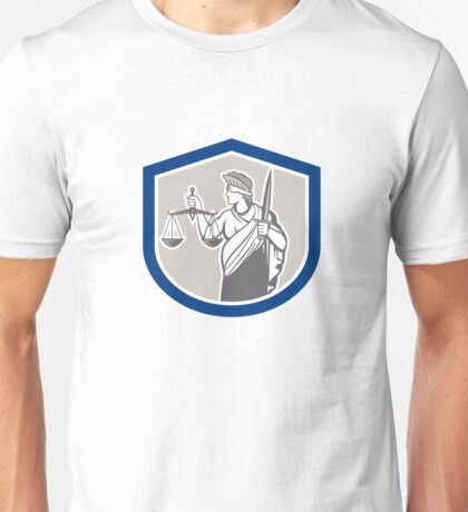 Lady Blindfolded Holding Scales Justice Sword Shield Unisex T-Shirt