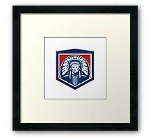 Native American Chief Shield Retro Framed Print