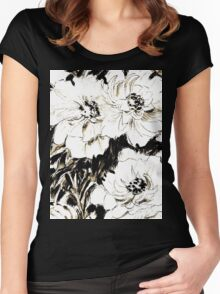 Peonies in ink Women's Fitted Scoop T-Shirt