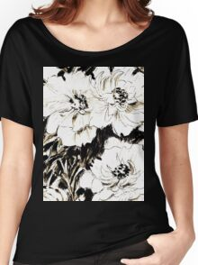 Peonies in ink Women's Relaxed Fit T-Shirt
