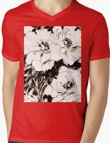 Peonies in ink Mens V-Neck T-Shirt