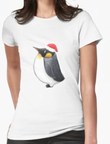 Louie the Christmas Penguin Womens Fitted T-Shirt