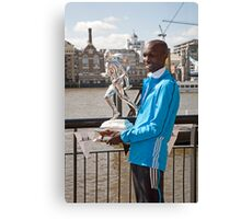 The Elite winner of the London Marathon 2014  Wilson Kipsang both from Kenya Canvas Print