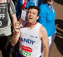 Andy Burnham with his London Marathon medal by Keith Larby