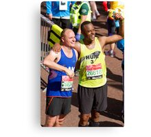 Humprey Nemar and Dan Charity with their London Marathon medals Canvas Print