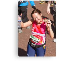Amanda Mealing with her London Marathon medal Canvas Print