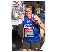 Danny Crates with his London Marathon medal Poster