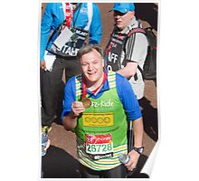 Ed Balls with his London Marathon medal Poster