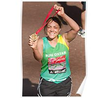 Miquita Billie Alexa Oliver with her London Marathon medal Poster