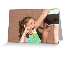 Miquita Billie Alexa Oliver with her London Marathon medal Greeting Card