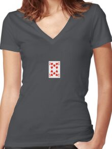 10 of hearts Women's Fitted V-Neck T-Shirt