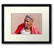 Mo Farah after finishing the London Marathon 2014 Framed Print