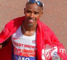 Mo Farah after finishing the London Marathon 2014 by Keith Larby