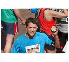 Michael Owen with his London Marathon medal Poster