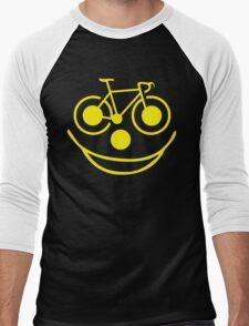 Funny Bike Cycling Smiley Face Men's Baseball ¾ T-Shirt