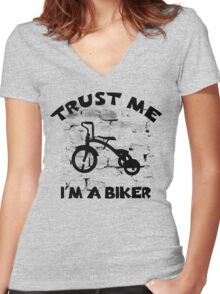 Child Tricycle - Trust Me I'm A Biker Women's Fitted V-Neck T-Shirt