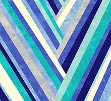 Palisade 2 - Blue Chevron Geometric Abstract by Jacqueline Maldonado